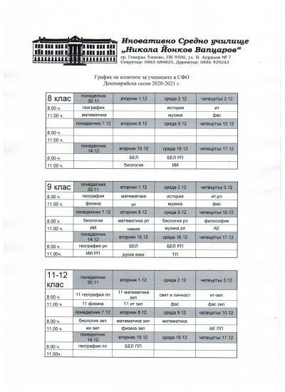 График на изпитите за учениците в самостоятелна форма - Изображение 1